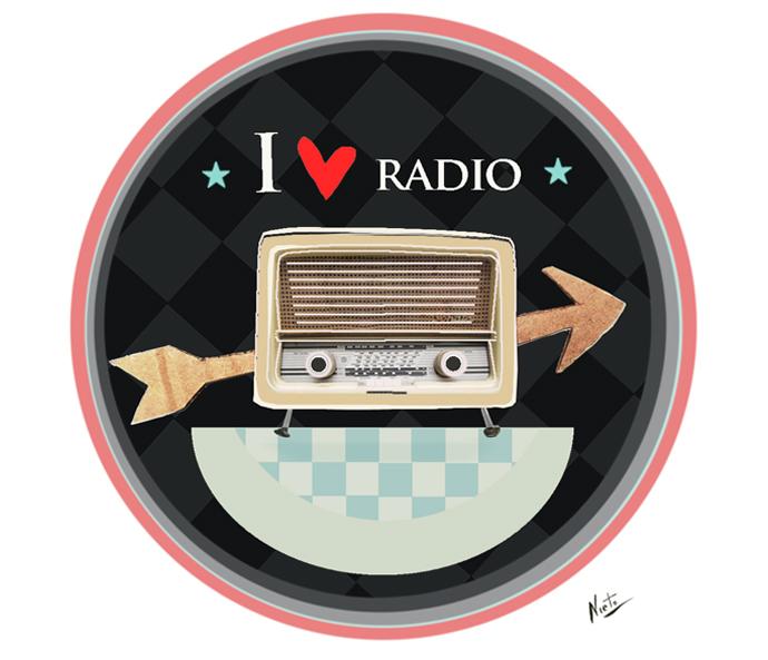 Illustratie ik ben gek op radio